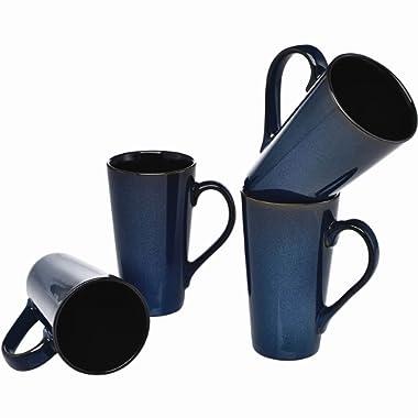 Culver Serenity Cafe Grande Ceramic Mug, 16-Ounce, Blue, Set of 4