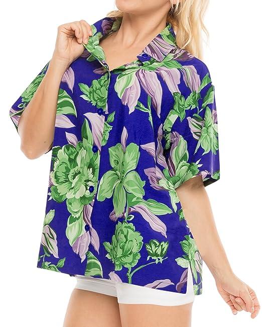 LA LEELA Blusas de Manga Corta Camisa Hawaiana de la Playa botón de Arriba de natación