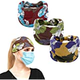 Women Headbands, Elastic Headbands with Buttons, Headbands with Buttons for Women Men Nurses, Non slip Hair bands for Yoga Sp
