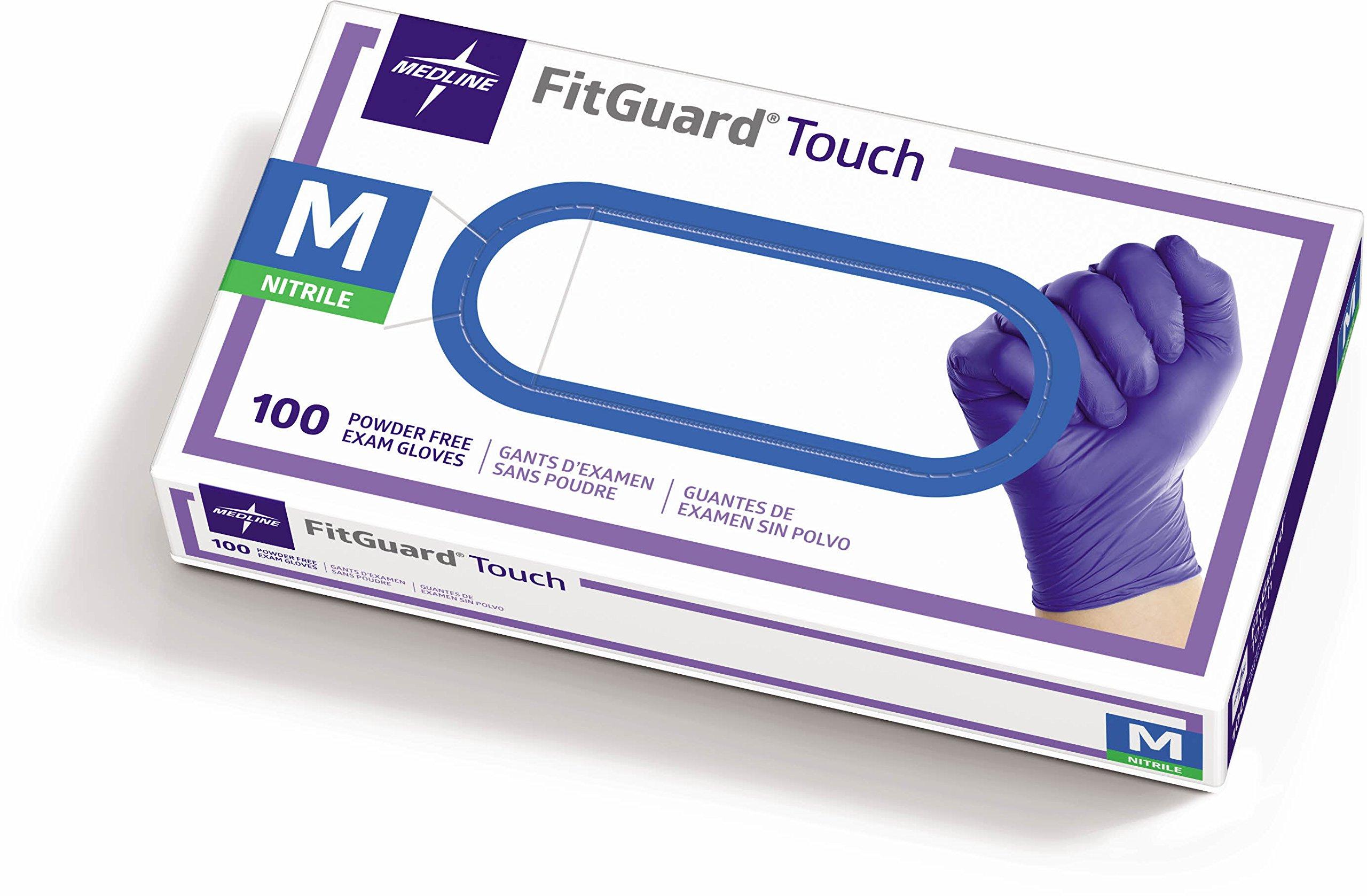 Medline FitGuard Touch Nitrile, Latex Free, Powder Free, Exam Gloves, Blue, Medium (100 Count)