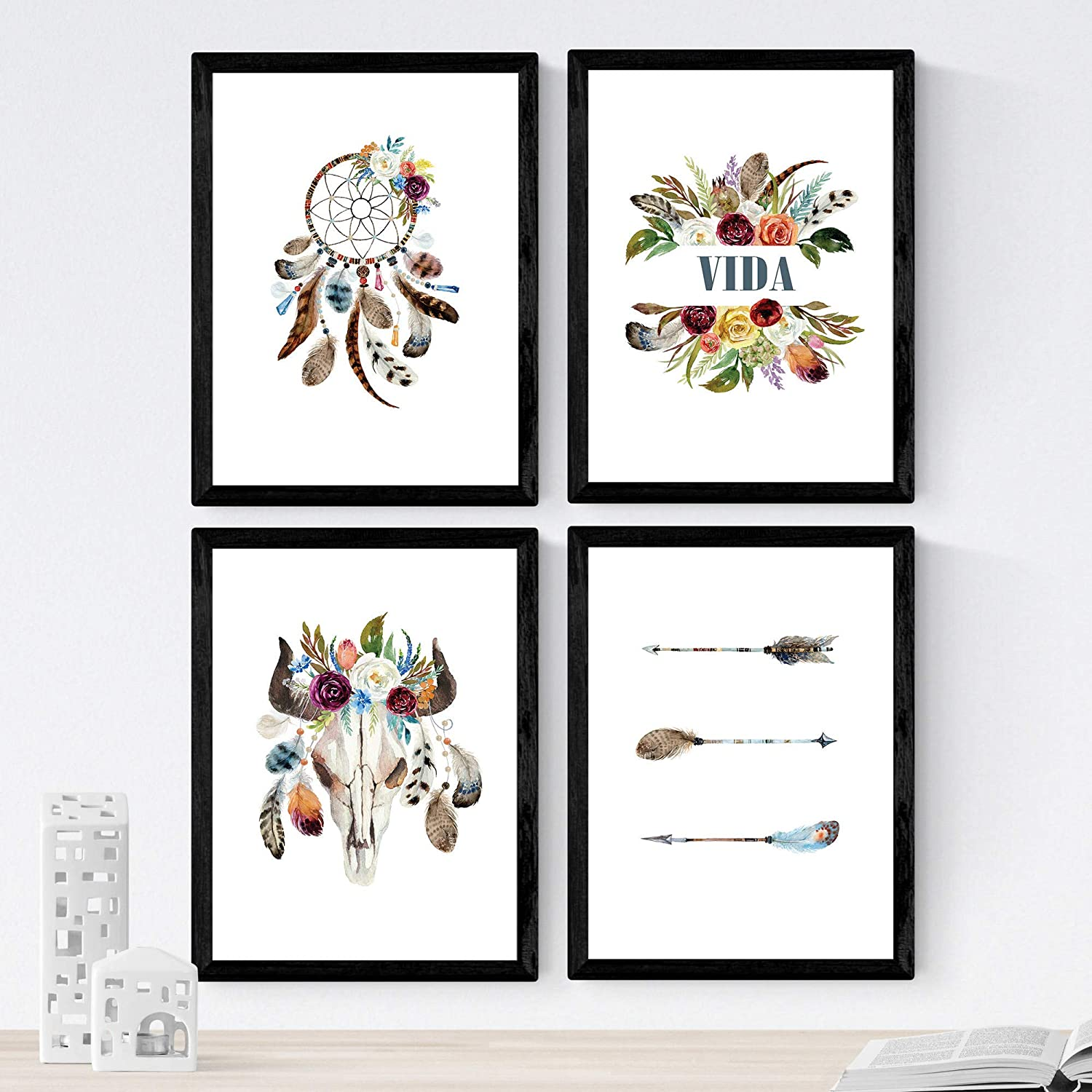 Nacnic Set of 4 Sheets of Plumas, 8'x11' Size, Poster Paper 250 gr. Frameless