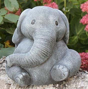 Garden ornament Elephant Cast stone Slate gray Amazoncouk