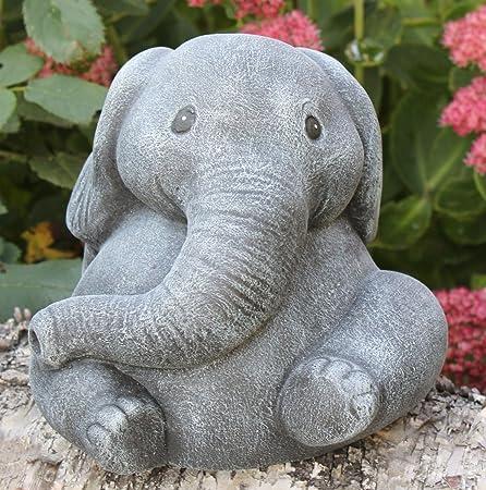 Garden Ornament Elephant, Cast Stone, Slate Gray