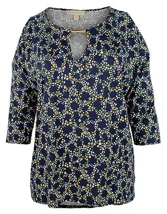 5edeac3c9ac9 MICHAEL Michael Kors Womens Plus Modal Blend Floral Print Pullover Top Navy  3X at Amazon Women s Clothing store