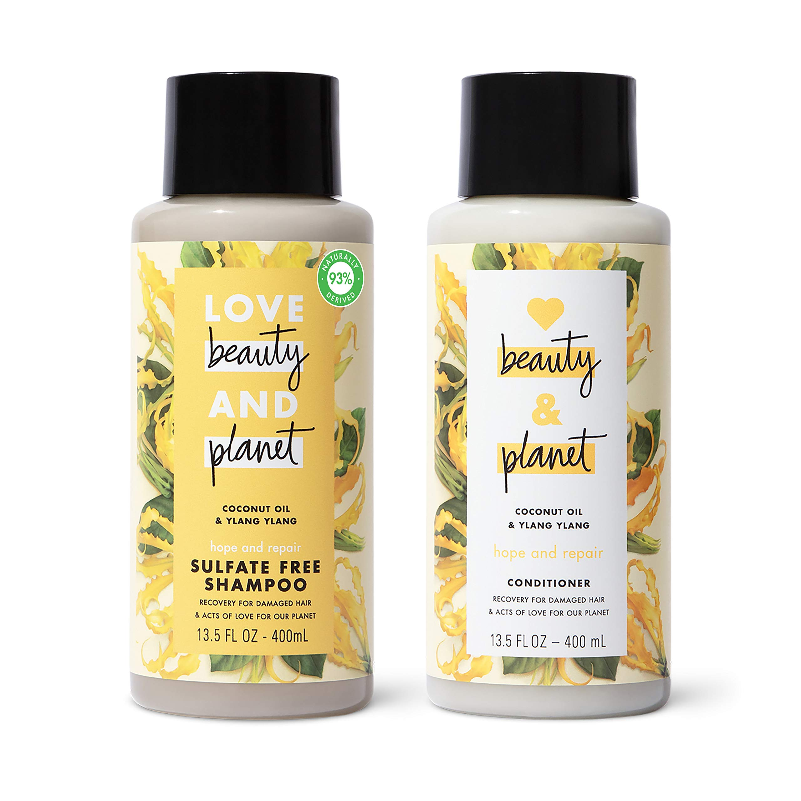 Love Beauty And Planet Hope and Repair Shampoo and Conditioner Dry Hair and Damaged Hair Care Coconut Oil and Ylang Ylang Paraben Free, Silicone Free, and Vegan 13.5 oz, 2 count