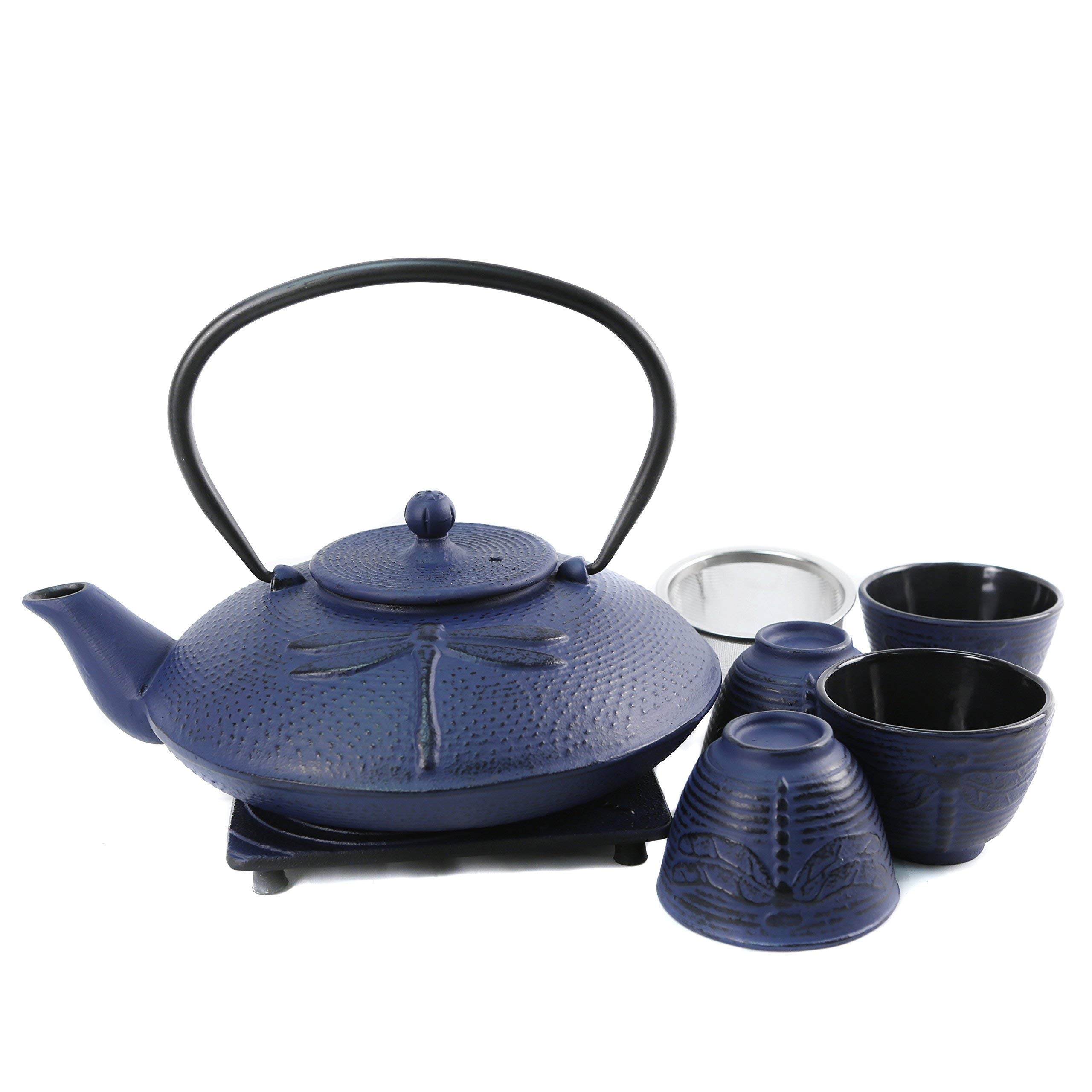 Cuisiland Dragonfly Cast Iron Teapot Set with 4 Cups 37oz Blue