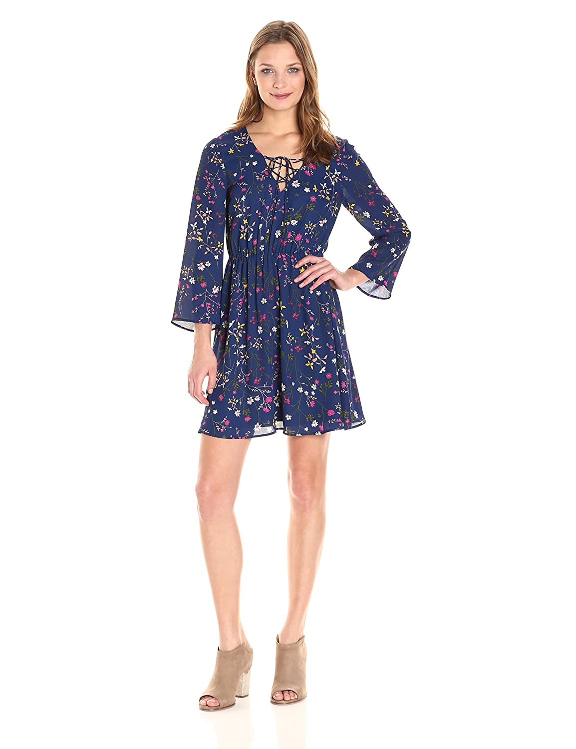 PARIS SUNDAY Womens Bell Sleeve Lace Up A-Line Georgette Dress