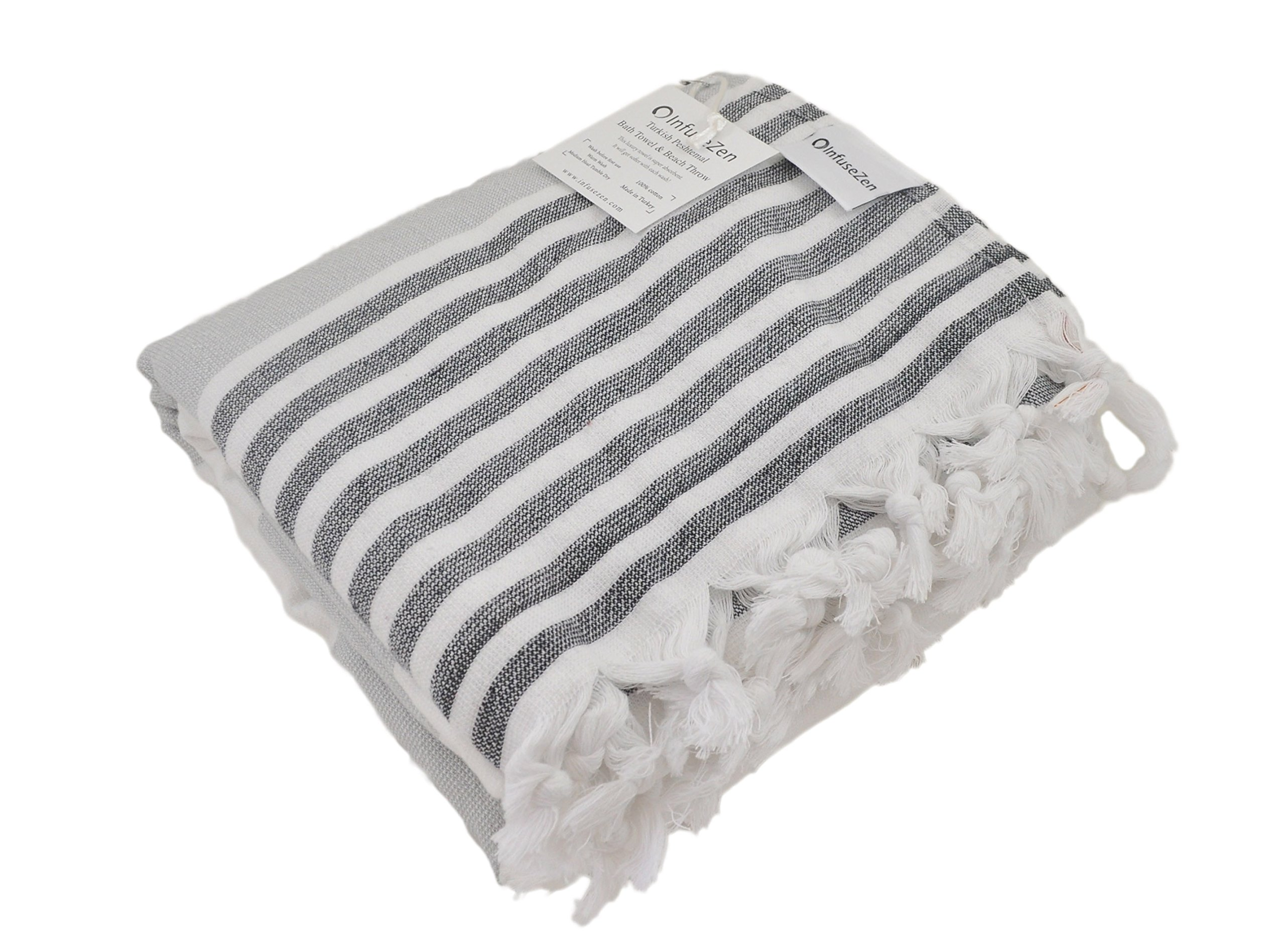 InfuseZen Oversized Turkish Towel, Soft Terry Cloth Back, Turkish Bath Towel, Beach Towel, Extra Large Peshtemal Bath Sheet for Plus Size, Nautical Style Thin Hammam Towel, Cotton Fouta (Grey Black) - Soft Turkish towel with a terry cloth backing - thinner and more lightweight than a typical terry towel! 100% cotton Turkish Towel, also known as a Peshtemal, Hammam or Fouta. Perfect as a bath towel, beach towel or towel for outdoor activities such as hiking, camping and picnics. - bathroom-linens, bathroom, bath-towels - 81BUIzXVtlL -
