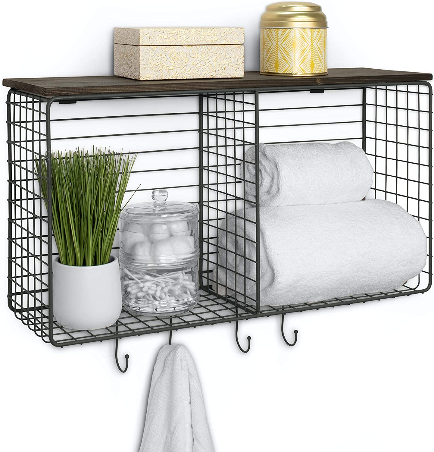 Spectrum Diversified Vintage Cube & Hook Station with Wood Shelf Wall-Mounted Entryway Organization Cube Storage & Shelf with Hooks, Entryway & Home Office Décor, One, Industrial Gray