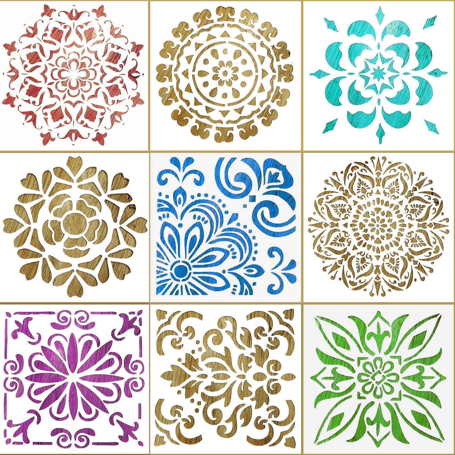 9 Pack Stencils for Painting on Wood, 12 x 12 Inch Reusable Mandala Stencil Large Stencils for Painting On Canvas Floor Wall Tile Fabric Furniture for Christmas Thanksgiving