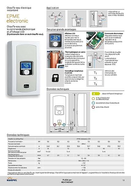 Calentador de agua eléctrico EPME, eléctrico con pantalla LCD, 5,5-9 kW, 230 V~ Kospel, monofásico: Amazon.es: Bricolaje y herramientas