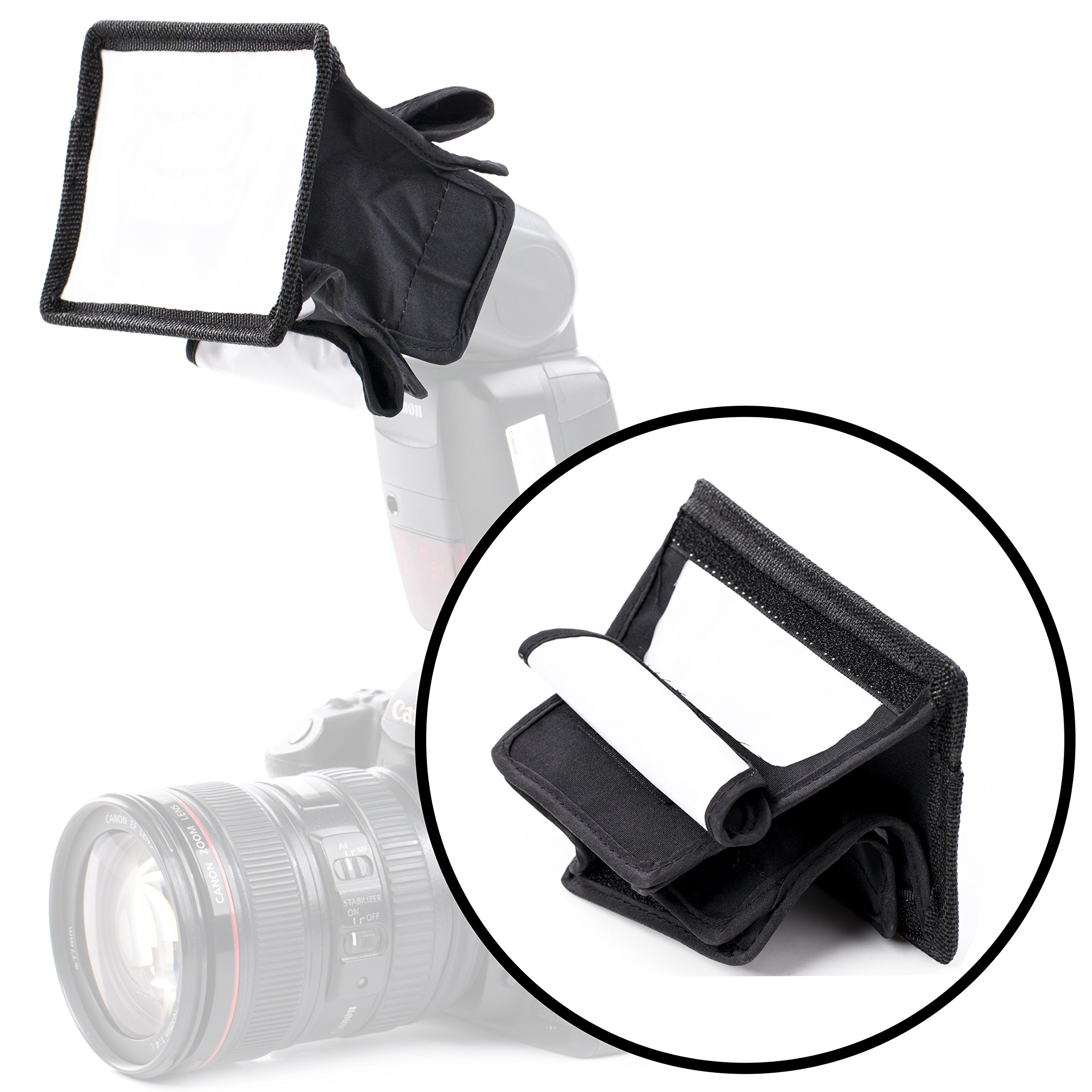 Movo MP-LB1 3.5x5 Mini Speedlight Fabric Flash Softbox Diffuser with Roll-Up Windows for Fill Light/Bounce Control - Universal Design Fits Most Flashes