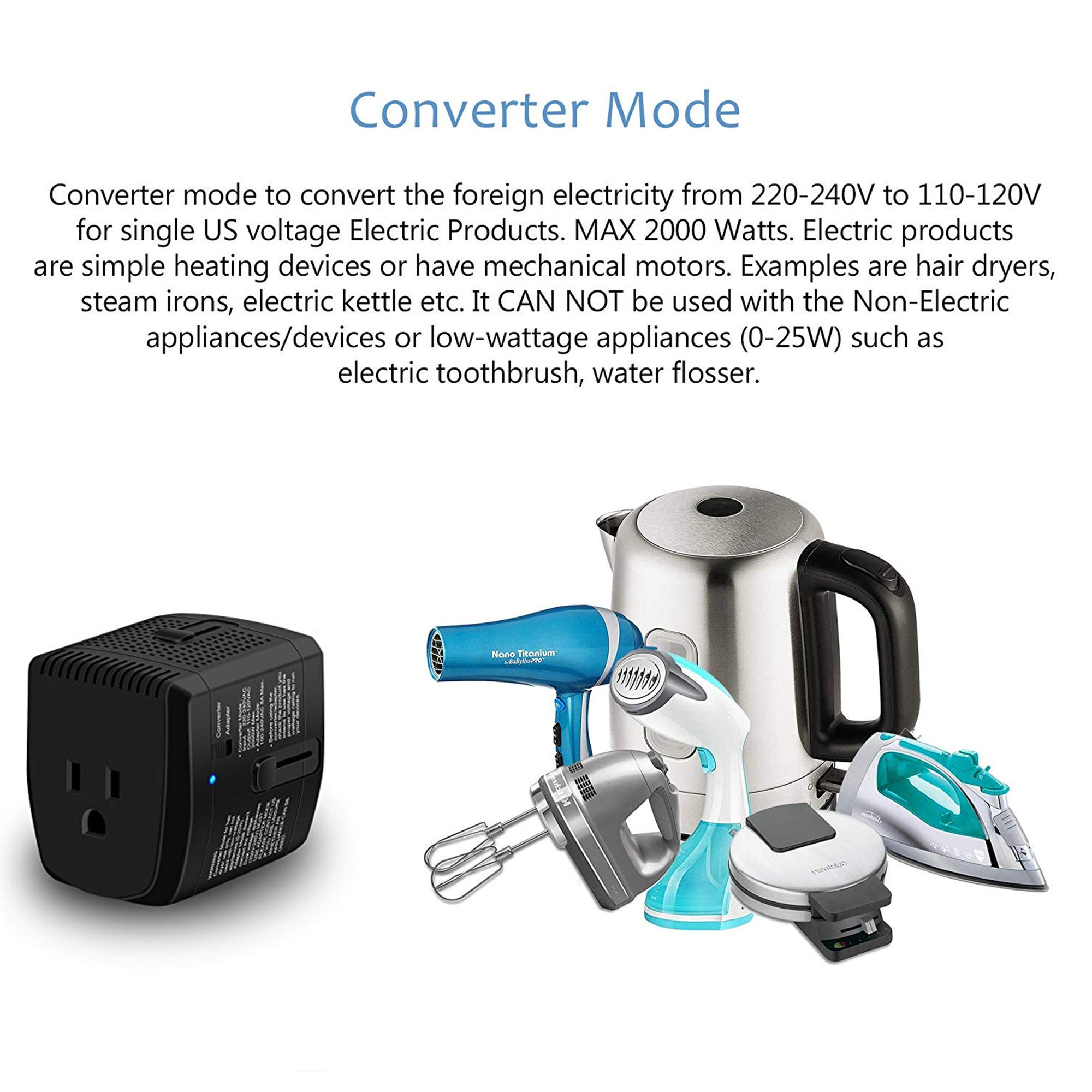 2000W Step Down Voltage Converter 220V to 110V and Universal Travel Plug Adapter Combo for Hair Dryer Steam Iron Cell Phone Laptop MacBook - Plug Adaptor US to Europe, UK, AU, Asia Over 150 Countries by ElecLead (Image #2)