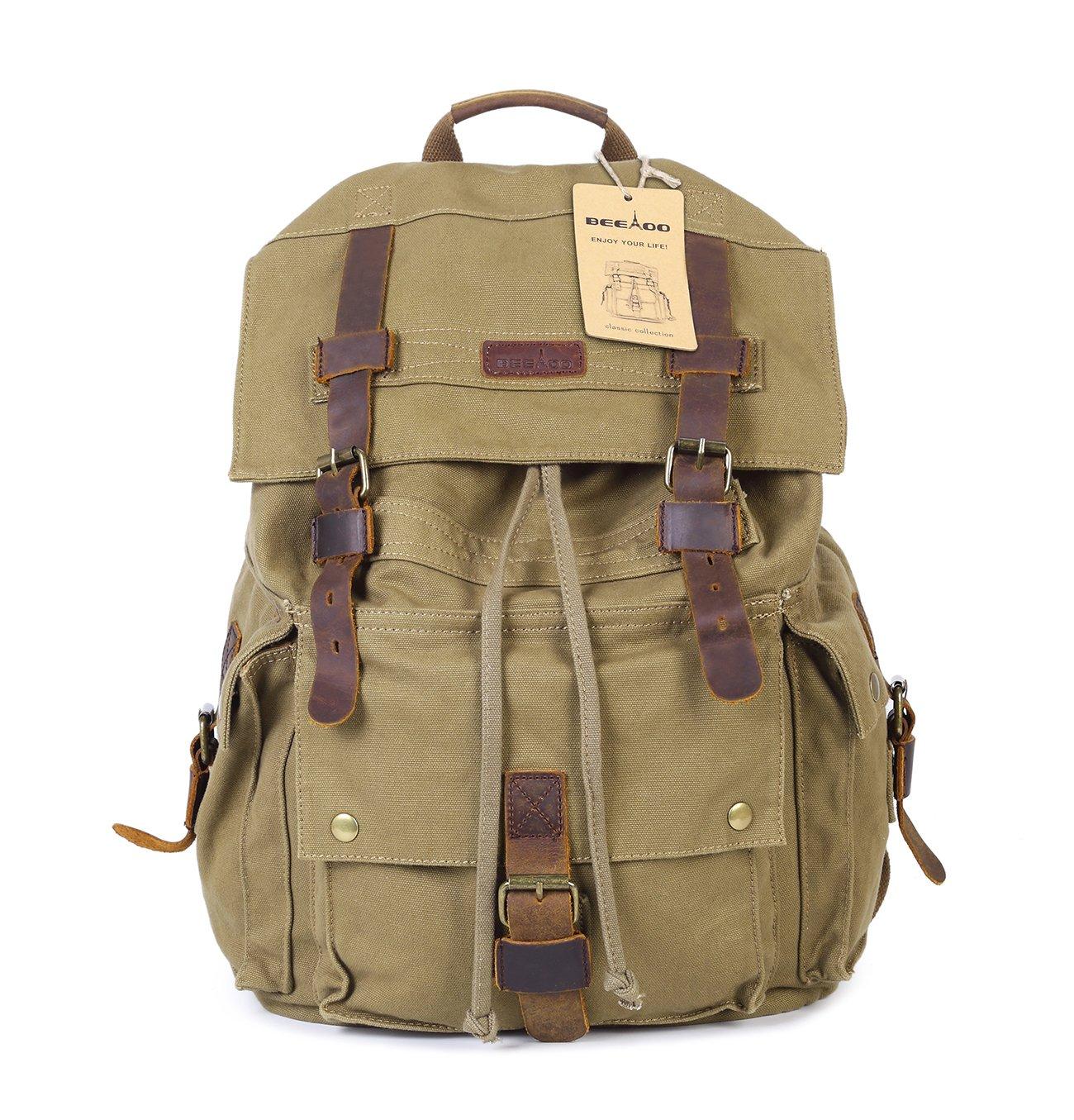 Beeaoo Canvas Backpack Bag,Rucksack, Travel Bag For Hiking, Camping,Durable Heavy Duty Multipurpose (Green)
