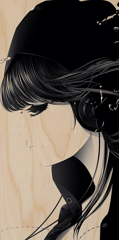 Amazon.com: Cartoon Anime Girl Emo w/Headphones & Black Hair