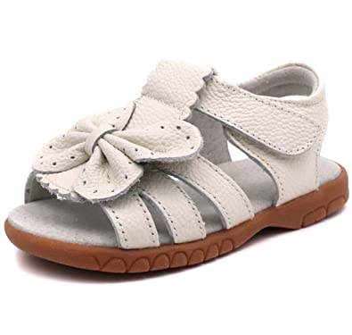 6e53e88b88c3 LONSOEN Girl s Butterfly Soft Leather Sandals Casual Outdoor Summer  Shoes(Toddler Little Kid)