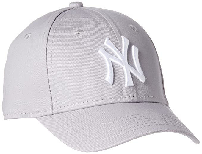 ec90ba3f55d8 Enfant New York NY Yankees MLB League Basic 9Forty Casquette Ajustée Fit  Gris   Blanc Child
