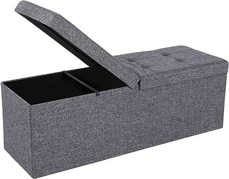 SONGMICS Storage Ottoman Bench with Flipping Lid Grey ULSF76GYZ