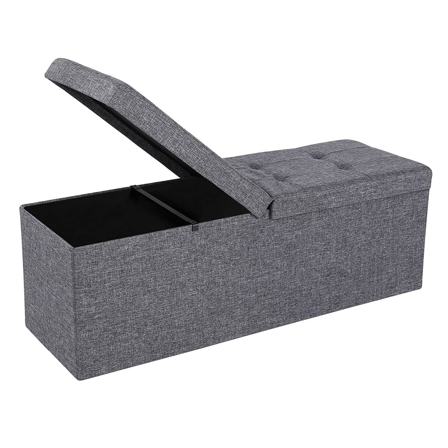 "SONGMICS 43"" L Fabric Storage Ottoman Bench with Lift Top, Storage Chest Foot Rest Stool, Dark Grey ULSF70H"