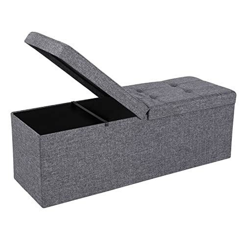Ottomans Lucia Storage Chest Grey Fabric: End Of Bed Storage Bench: Amazon.com