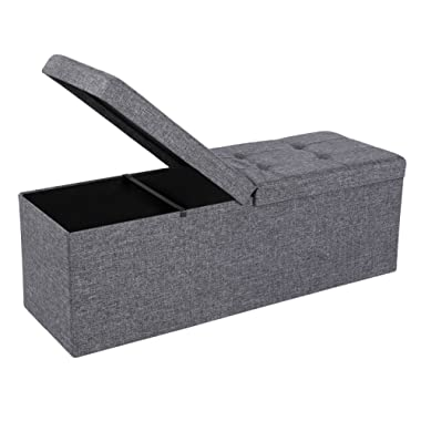 SONGMICS 43  L Fabric Storage Ottoman Bench with Lift Top, Storage Chest Foot Rest Stool, Dark Grey ULSF70H