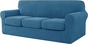 CHUN YI 4 Pieces Stretch Sofa Cover for Dogs, 3 Seater Couch Slipcover with 3 Separate Cushion Replacement Coat for Ektorp Universal Sleeper, Checks Spandex Jacquard Fabric, Large, Denim Blue