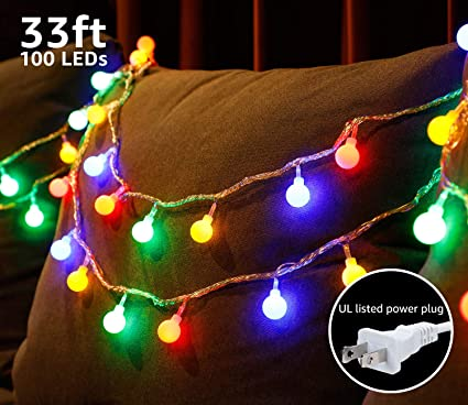 Christmas Light Show Kit.Torchstar 33ft 100 Leds Globe String Light Kit 8 Modes Decorative Lighting Pvc Coated Copper Wires Waterproof For Holiday Christmas