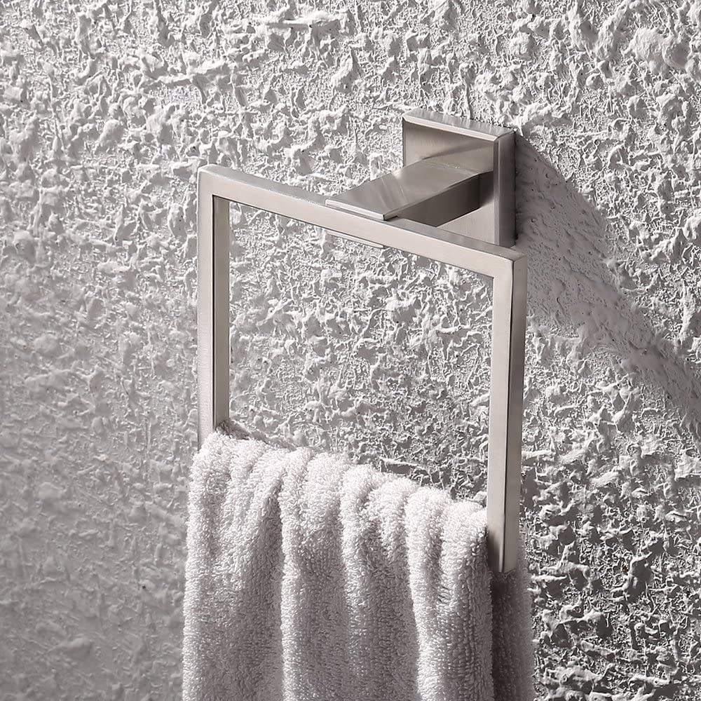 Brushed Finish SUS 304 Stainless Steel Bath Towel Holder Hand Towel Ring Hanging Towel Hanger Bathroom Accessories Contemporary Hotel Square Style Wall Mount UMI A2480-2