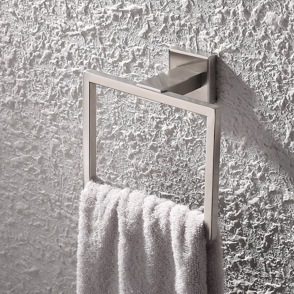 A2480-2 UMI SUS 304 Stainless Steel Bath Towel Holder Hand Towel Ring Hanging Towel Hanger Bathroom Accessories Contemporary Hotel Square Style Wall Mount Brushed Finish