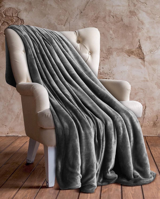 Utopia Bedding Vellón Manta (Gris, 127 x 152 cm) - Tejido De Vellón De Microfibra - Manta De Sofá, Suave y Cálida