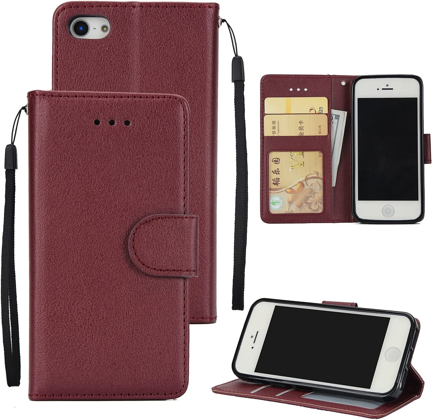 AHUOZ Phone Flip Case Cover Wallet Case for iPhone 5S/5SE/5, Premium PU Leather Wallet Case [Wrist Strap] Flip Folio with ID&Credit Card Pockets (Color : Wine red)