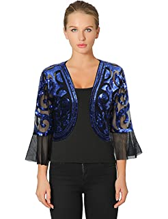 a089cbb8c0d Metme Sequin Jacket Open Front Glitter Cropped Bolero Shrug 2 3 length Bell Sleeves  Lace