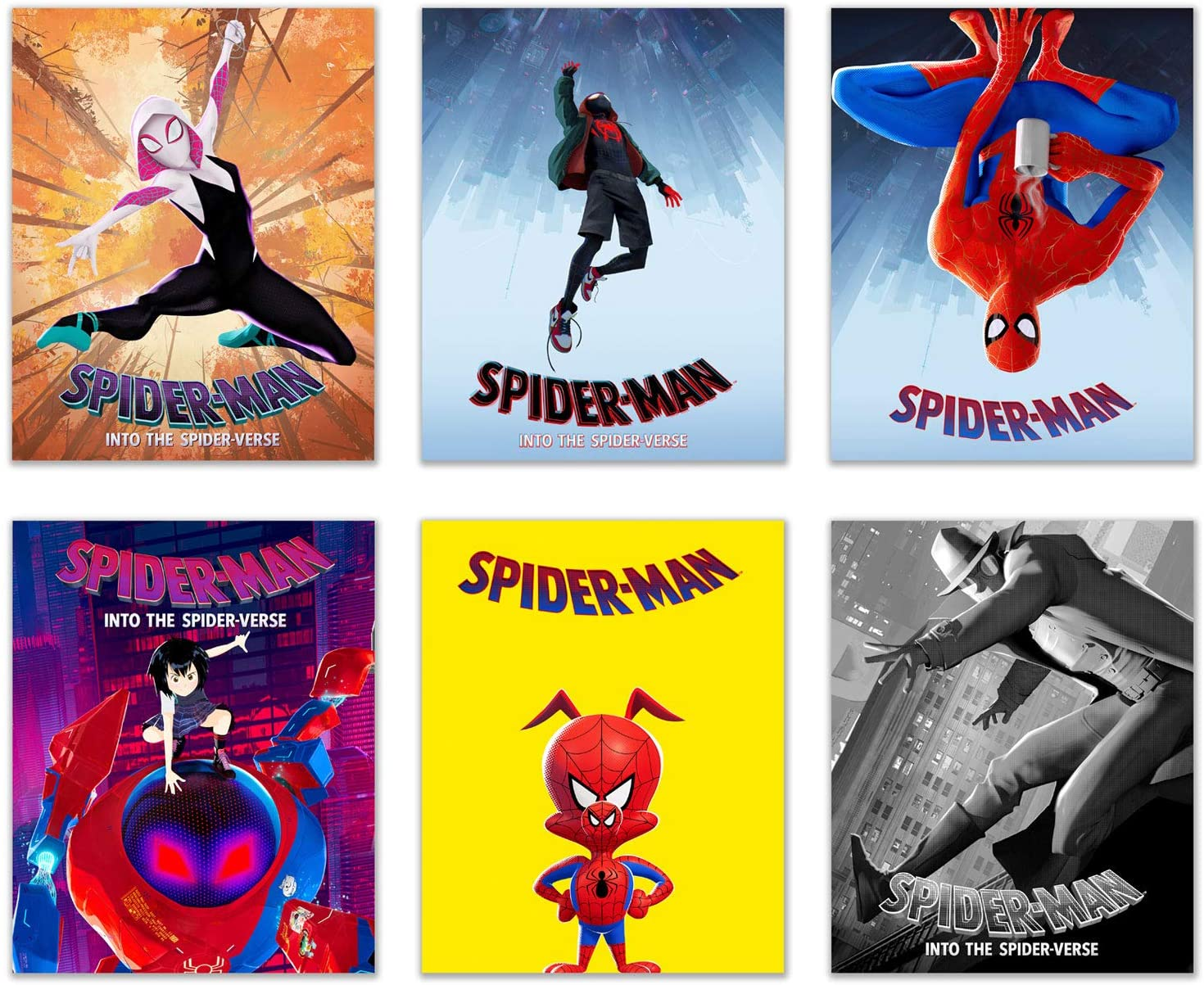 Spiderman into the Spiderverse Movie Prints - Set of 6 (8 inches x 10 inches) Photos