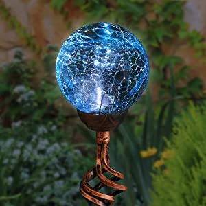 "Exhart Solar Teal Cracked Crystal Ball Metal Finials Yard Stake - Glass Ball Metal Stake w/Solar LED Outdoor Lights, Glass Globe Metal Artwork, Glass Orb Metal Ground Stake, 3.5"" L x 3.5"" W x 31"" H"