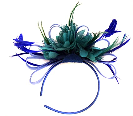 709bd2553ebdd Royal Blue and Teal Net Hoop Feather Hair Fascinator Headband Wedding Royal  Ascot Races  Amazon.co.uk  Clothing