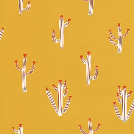 Yellow And Orange Modern Wallpaper With Cute Cactus Smile Smil French Parade 69752222