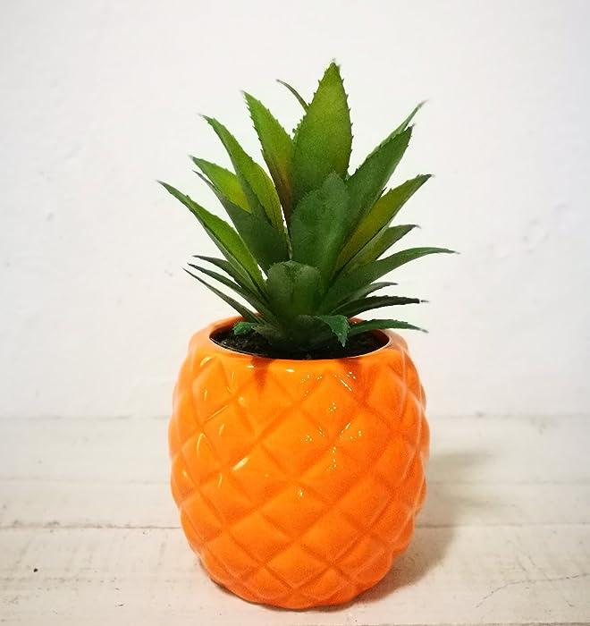 "Artificial Potted Succulent 7.8"" Pineapple Home Deco Tabletop Decoration (Orange)"