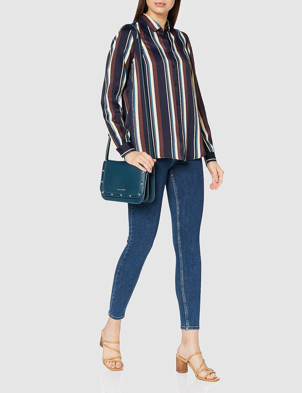 Silkesklistermärke dam blus – Fashion Blus – skjortblus med skjortblusbrosch – Regular Fit – lång ärm – 100% viskos Mörk safir