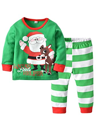 1ed0a06d2996c Eleasica Autumn Hiver Enfants Pyjama Ensemble Manches Longues Tops Pantalon  Mignon Col Rond Impression Le Père