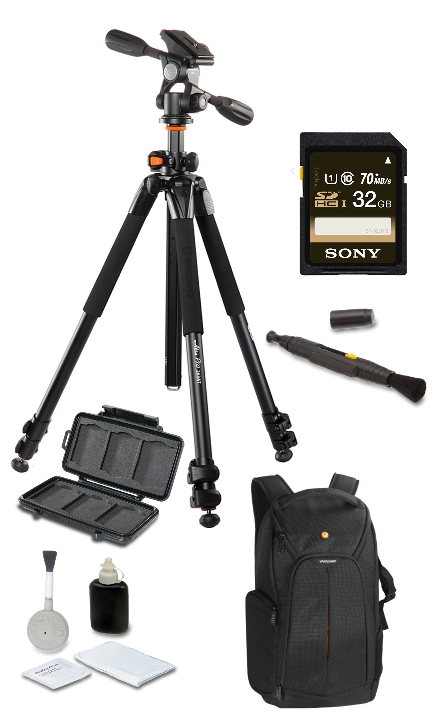 Vanguard Alta Pro 263AP Deluxe Bundle + Vanguard 2GO 46 + SONY 32GB SD Card + Cleaning Kit 4pc + Lens Pen Cleaning Brush + Memory Card Wallet + Much More!