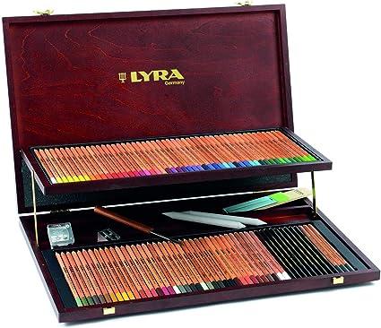 Lyra - Estuche de madera con 96 lápices de colores y accesorios;LYRA 2004200 Rembrandt Polycolor Holzkoffer Professional Künstlerfarbstifte Polycolor mit div. Zubehör, 105 Einzelteile: Amazon.es: Oficina y papelería