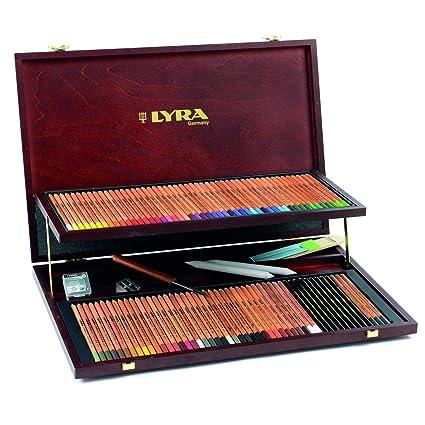 Lyra - Estuche de madera con 96 lápices de colores y accesorios;LYRA 2004200 Rembrandt Polycolor Holzkoffer Professional Künstlerfarbstifte Polycolor ...