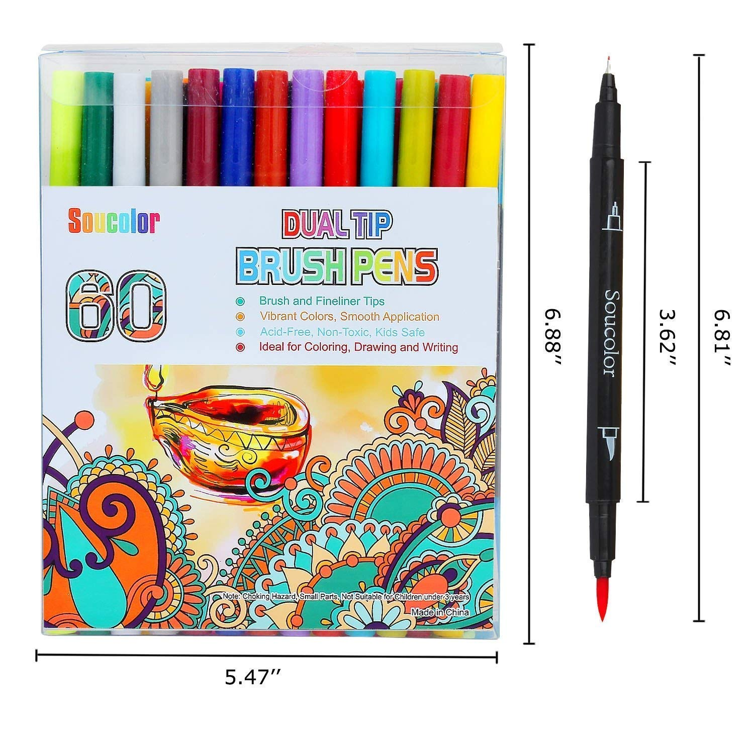 Soucolor 60 Colors Dual Tip Brush, Coloring Pens for Adult Coloring Books, Scrapbooking, Doodling, Drawing, Writing, Sketching and Craft