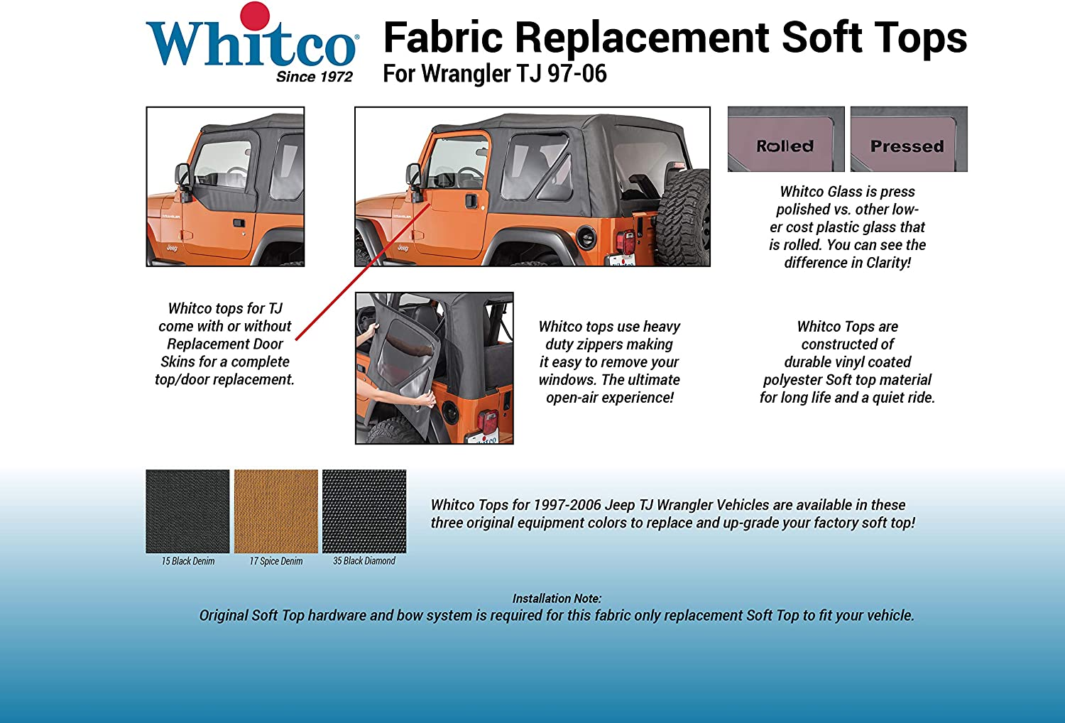 Whitco 35101237 Spice Diamond no Door Skins Jeep 97-06 TJ Wrangler Soft Top