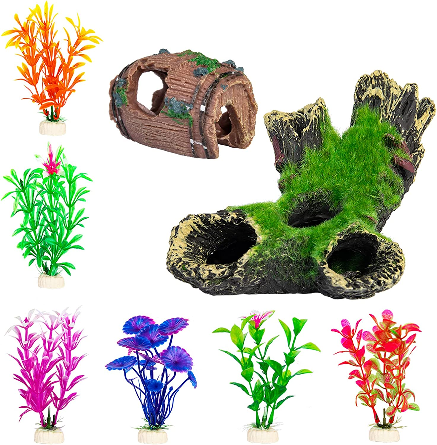CousDUoBe Aquarium Fish Tank Decorations Accessories, with Mossy Trunk and Hollow Baeerl Hiding Place, Suitable for Home Office Aquarium Decorations