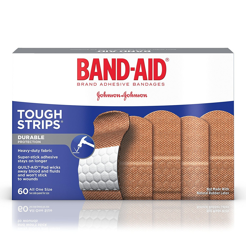 BAND-AID Brand Adhesive Bandages Tough Strip 60 ea (Pack of 2) WLM