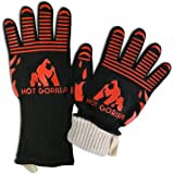 Hot Gorilla BBQ Grill Cooking Gloves - Extreme Heat Resistant 932°F EN407 Certified with Forearm Protection - Great for Barbecue Grilling, Oven Mitts, Pot Holders, Camping, Outdoor & Kitchen