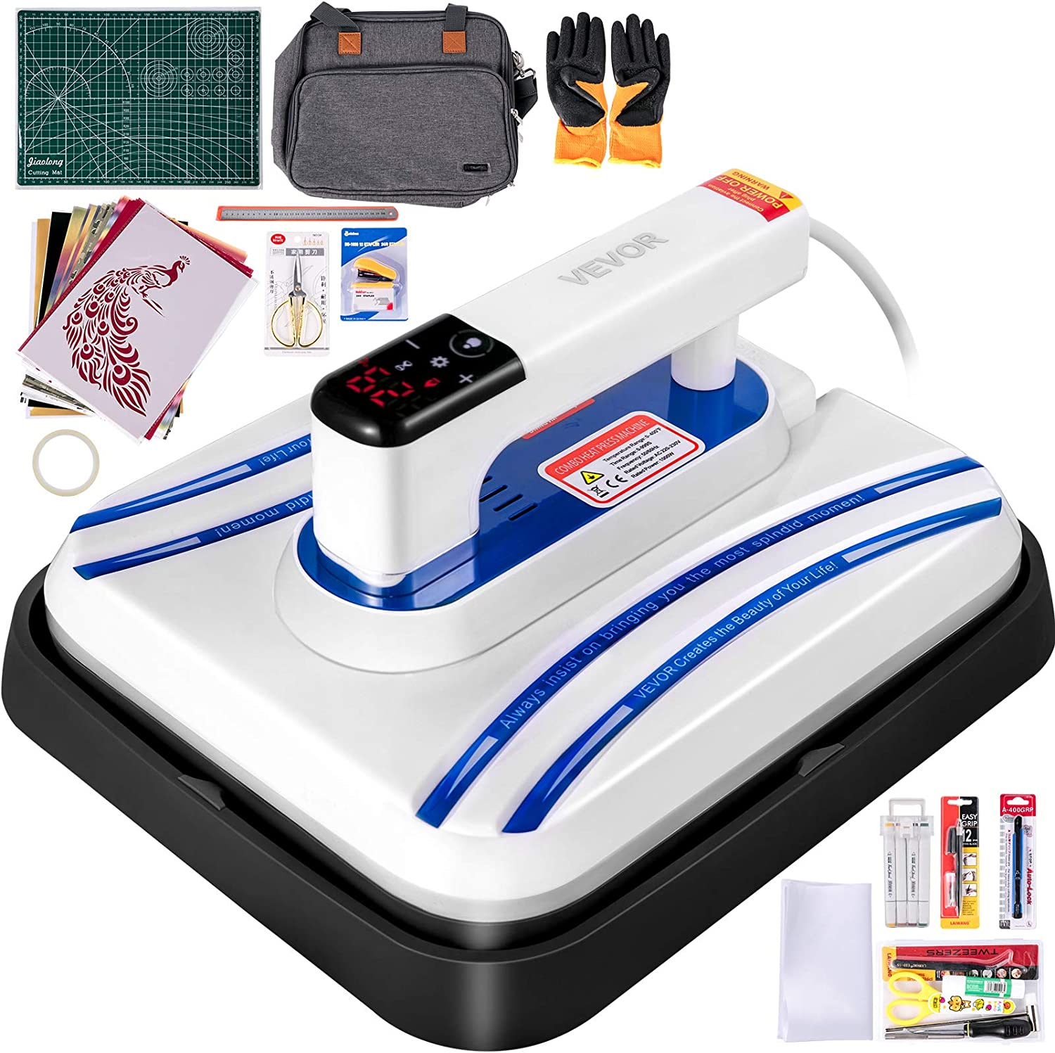 Automatic Vibration Pressing Operation Upgraded Small Heat Press Machine with Professional Mode Easy Press Mini Mini HTV Iron-On Rolls with Carrying Case