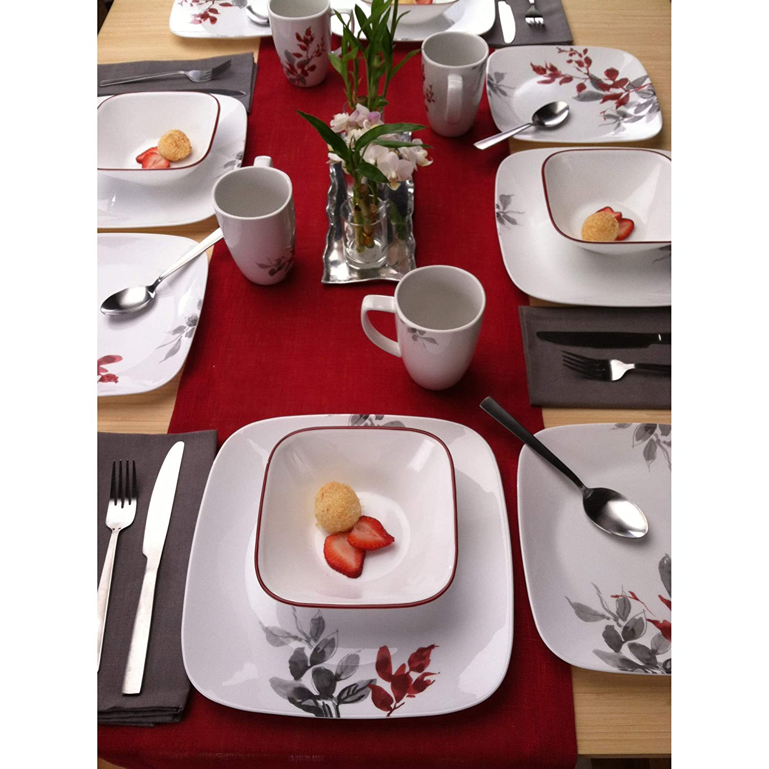 Corelle Boutique Square Kyoto Leaves 16-Piece Dinnerware Set Service for 4
