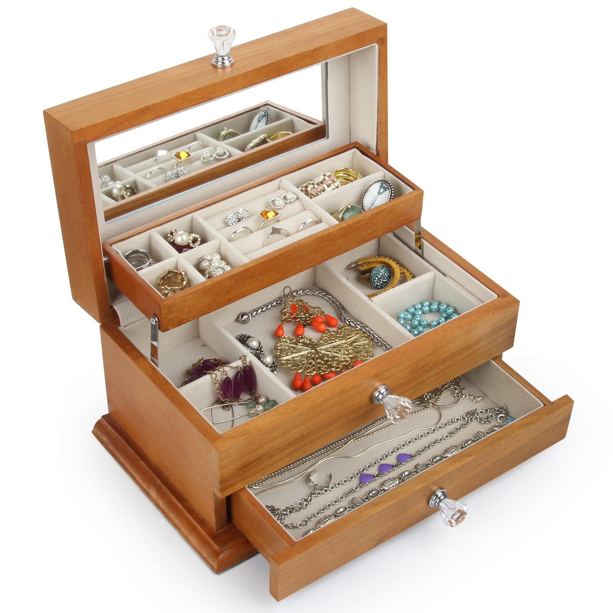 Real Natural Hardwood Wooden Jewelry Box (2-ZH-WJC3AK)